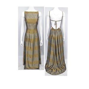 Jessica McClintock Gold Olive & Silver Dress, Sz 4